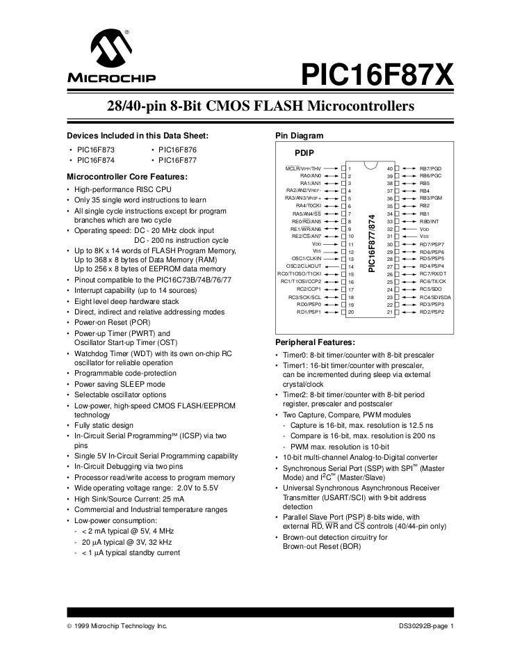 PIC16F87X            28/40-pin 8-Bit CMOS FLASH MicrocontrollersDevices Included in this Data Sheet:                   Pin...