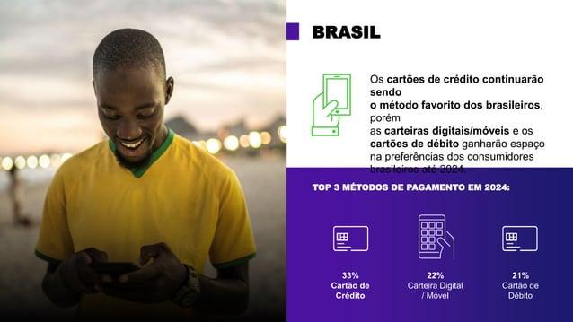 TOP 3 MÉTODOS DE PAGAMENTO EM 2024: BRASIL 33% Cartão de Crédito 22% Carteira Digital / Móvel 21% Cartão de Débito Os cart...