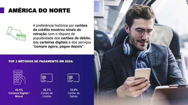 AMÉRICA DO NORTE 40,5% Carteira Digital / Móvel 26,7% Cartão de Crédito 19,5% Cartão de Débito TOP 3 MÉTODOS DE PAGAMENTO ...