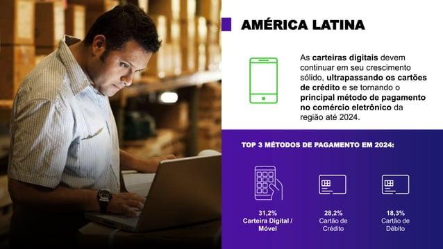 TOP 3 MÉTODOS DE PAGAMENTO EM 2024: AMÉRICA LATINA 31,2% Carteira Digital / Móvel 28,2% Cartão de Crédito 18,3% Cartão de ...