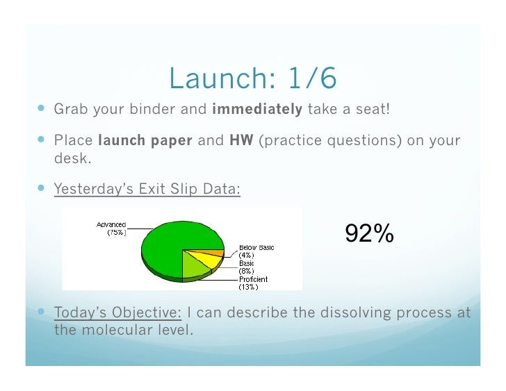 Launch: 1/6   Grab your binder and immediately take a seat!   Place launch paper and HW (practice questions) on your   d...