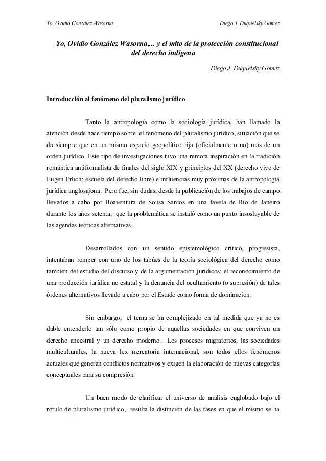Yo, Ovidio González Wasorna ... Diego J. Duquelsky Gómez Yo, Ovidio González Wasorna,... y el mito de la protección consti...