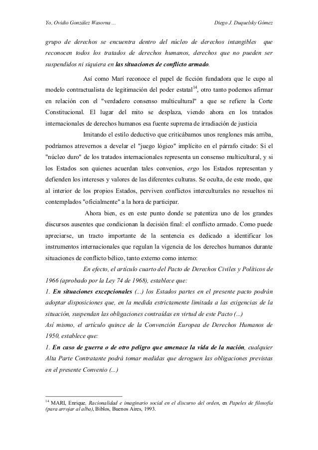 Yo, Ovidio González Wasorna ... Diego J. Duquelsky Gómez grupo de derechos se encuentra dentro del núcleo de derechos inta...