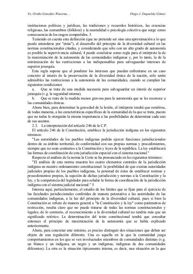 Yo, Ovidio González Wasorna ... Diego J. Duquelsky Gómez instituciones políticas y jurídicas, las tradiciones y recuerdos ...