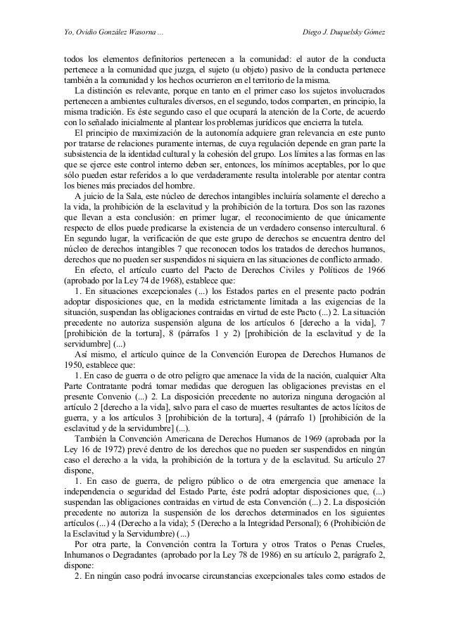 Yo, Ovidio González Wasorna ... Diego J. Duquelsky Gómez todos los elementos definitorios pertenecen a la comunidad: el au...