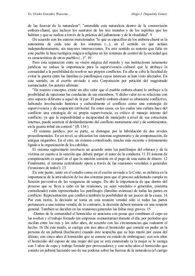 "Yo, Ovidio González Wasorna ... Diego J. Duquelsky Gómez de las fuerzas de la naturaleza""; ""entendida esta naturaleza dent..."