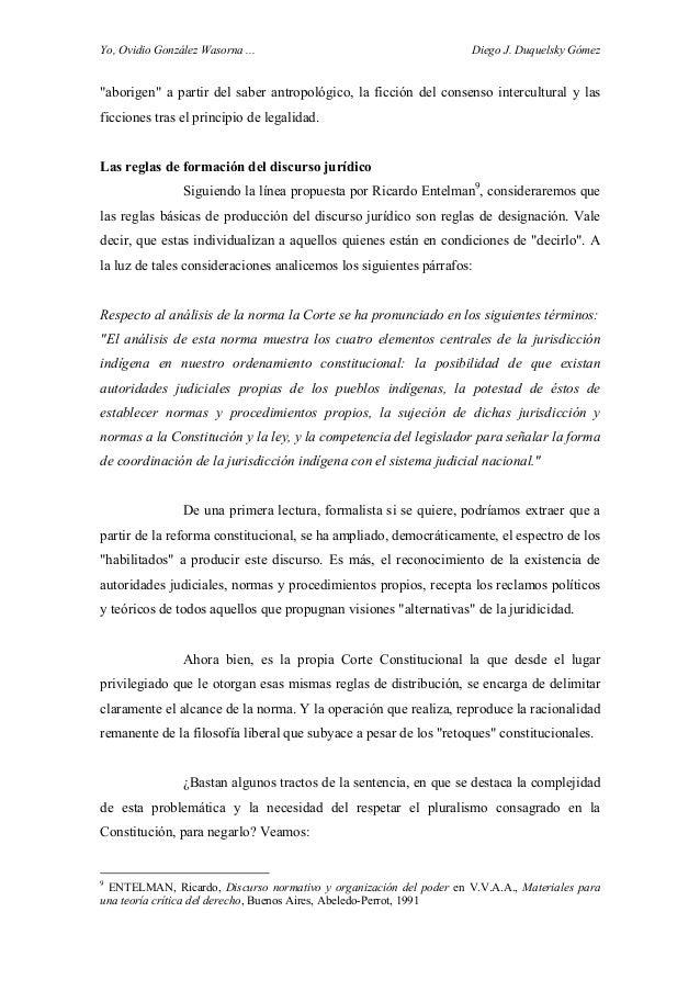 """Yo, Ovidio González Wasorna ... Diego J. Duquelsky Gómez """"aborigen"""" a partir del saber antropológico, la ficción del conse..."""