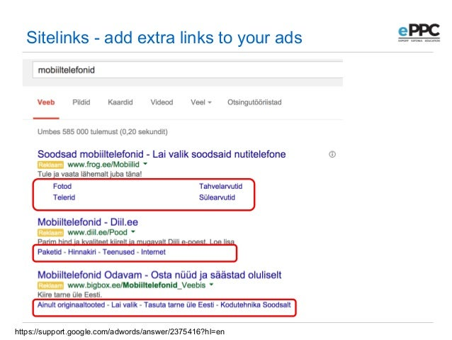 adwords support sitelink