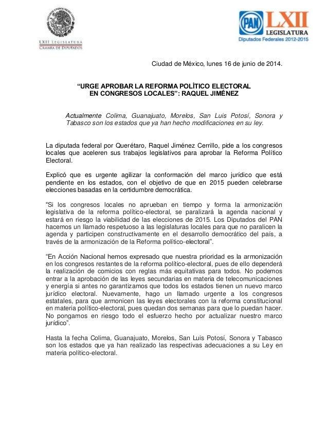 """Ciudad de México, lunes 16 de junio de 2014. """"URGE APROBAR LA REFORMA POLÍTICO ELECTORAL EN CONGRESOS LOCALES"""": RAQUEL JIM..."""