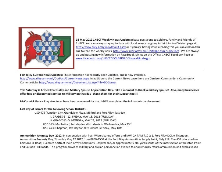 16 May 2012 1HBCT Weekly News Update: please pass along to Soldiers, Family and Friends of                                ...