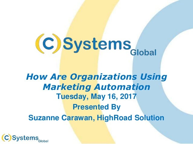 How Are Organizations Using Marketing Automation Tuesday, May 16, 2017 Presented By Suzanne Carawan, HighRoad Solution