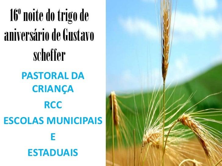 16º noite do trigo deaniversário de Gustavo       scheffer   PASTORAL DA     CRIANÇA       RCCESCOLAS MUNICIPAIS        E ...