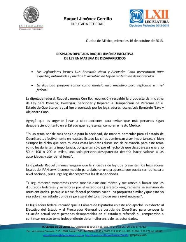 Del. Venustiano  Raquel Jiménez Cerrillo DIPUTADA FEDERAL  Ciudad de México, miércoles 16 de octubre de 2013.  RESPALDA DI...