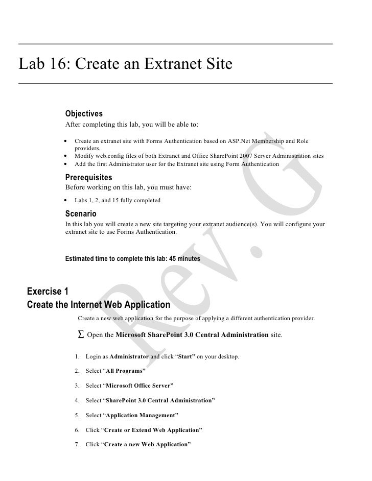 Lab 16: Create an Extranet Site            Objectives           After completing this lab, you will be able to:           ...