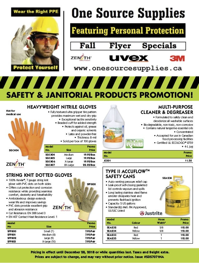 SAFETY & JANITORIAL PRODUCTS PROMOTION! Pricing in effect until December 28, 2018 or while quantities last. Taxes and frei...