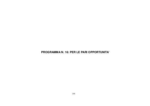 239 PROGRAMMA N. 16: PER LE PARI OPPORTUNITA'