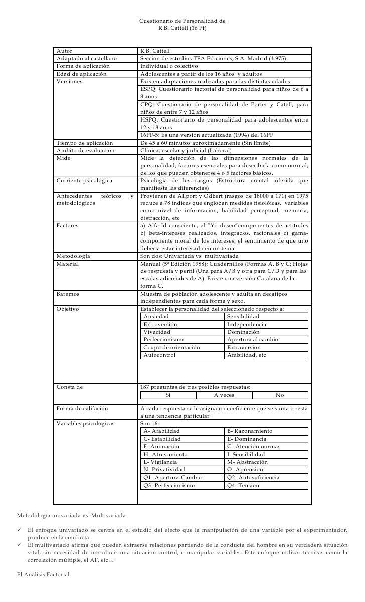 Cuestionario de Personalidad de                                                      R.B. Cattell (16 Pf)                 ...