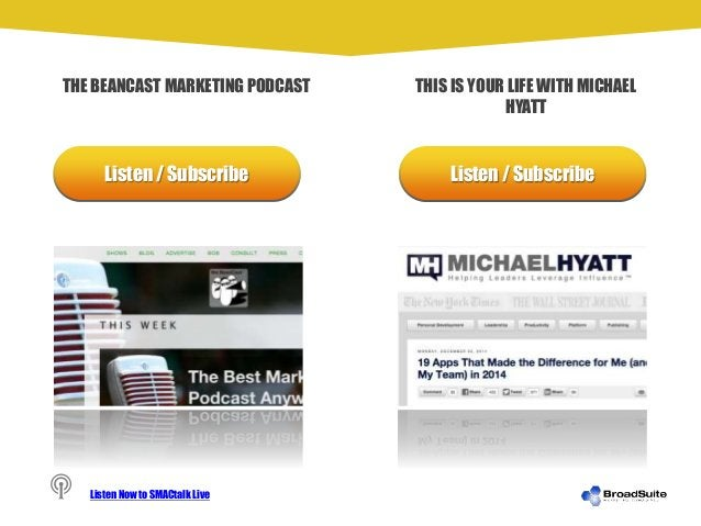 Listen / Subscribe Listen / Subscribe THE BEANCAST MARKETING PODCAST THIS IS YOUR LIFE WITH MICHAEL HYATT Listen Now to SM...