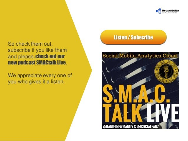 Listen / Subscribe So check them out, subscribe if you like them and please, check out our new podcast SMACtalk Live. We a...