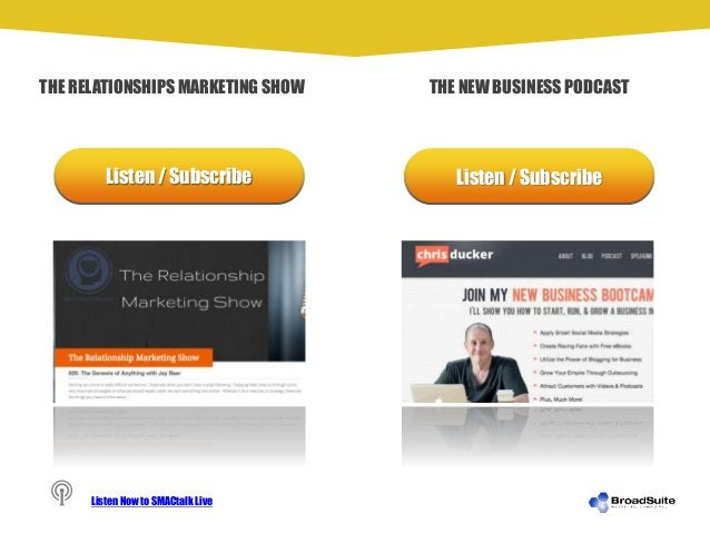 Listen / Subscribe Listen / Subscribe THE RELATIONSHIPS MARKETING SHOW THE NEW BUSINESS PODCAST Listen Now to SMACtalk Live