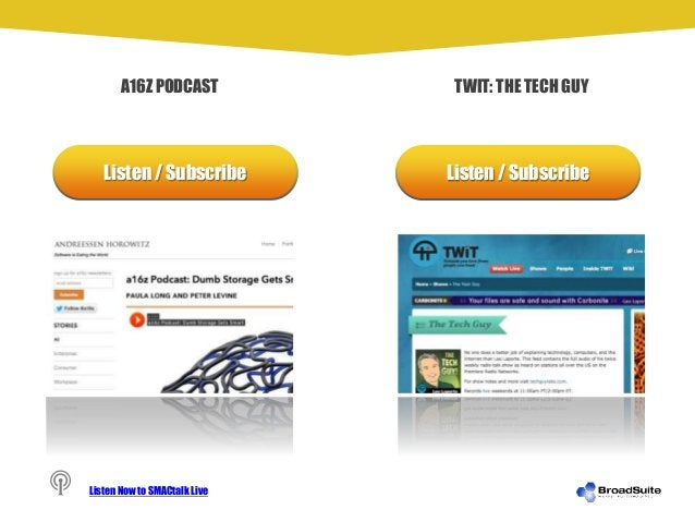Listen / Subscribe Listen / Subscribe A16Z PODCAST TWIT: THE TECH GUY Listen Now to SMACtalk Live