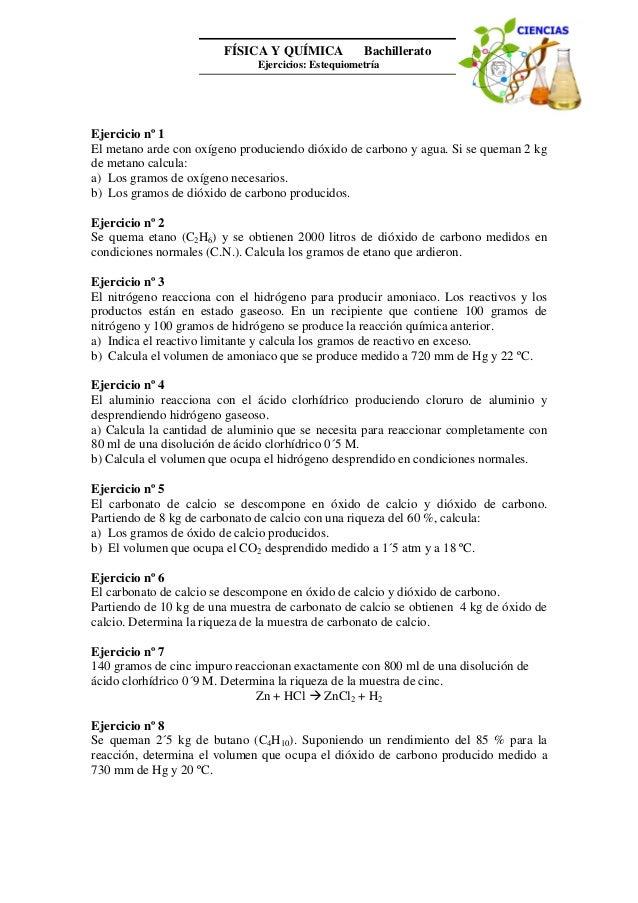 FÍSICA Y QUÍMICA 1º Bachillerato Ejercicios: Estequiometría (II) Autor: Manuel Díaz Escalera (http://www.fqdiazescalera.co...