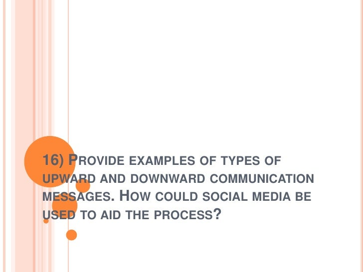 16) PROVIDE EXAMPLES OF TYPES OFUPWARD AND DOWNWARD COMMUNICATIONMESSAGES. HOW COULD SOCIAL MEDIA BEUSED TO AID THE PROCESS?