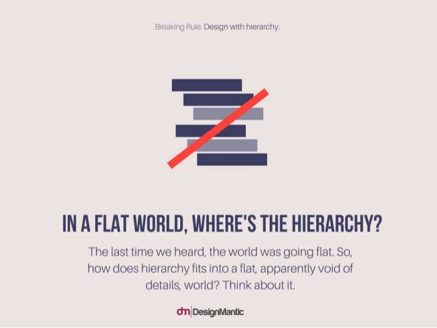 In a flat world, where's the hierarchy? The last time we heard, the world was going flat. So, how does hierarchy fits into...