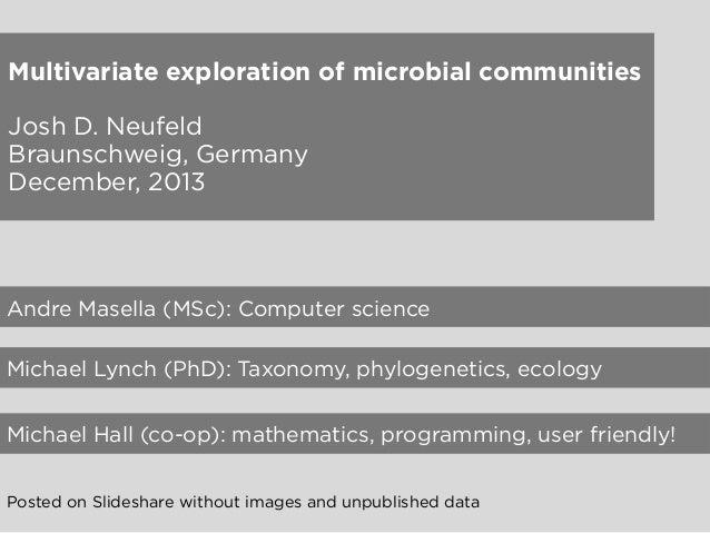 Multivariate exploration of microbial communities Josh D. Neufeld Braunschweig, Germany December, 2013  Andre Masella (MSc...