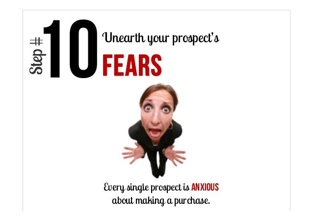 Unearth your prospect's  FEARS  Every single prospect is anxious about making a purchase.