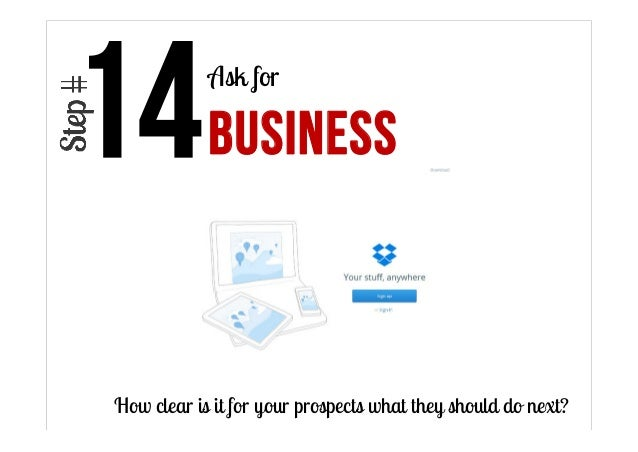 Ask for  BUSINESS  How clear is it for your prospects what they should do next?