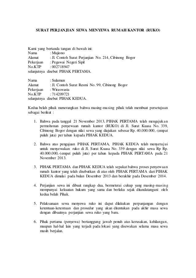 16 surat perjanjian kontrak rumah