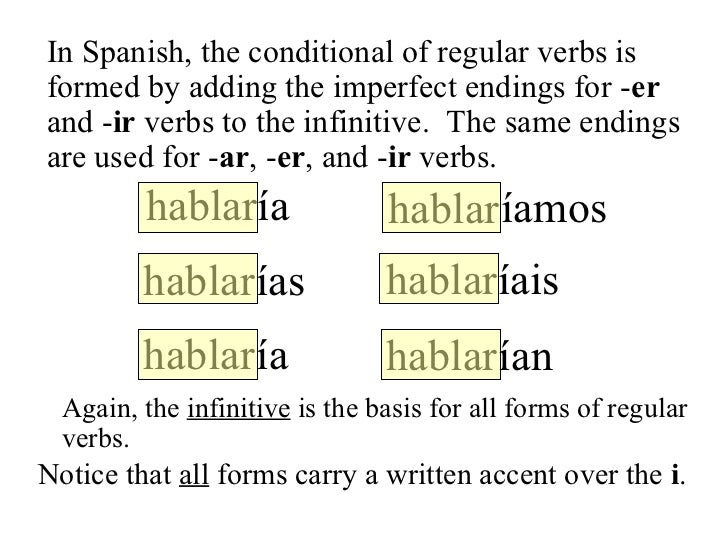 conditional verb forms The conditional, conditional perfect, and if clauses cond - condperf - if clauses - reminders the conditional forms of the conditional to form the conditional, use: the same stem as for the future tense (normally, the infinitive a list of irregular verbs is given below.