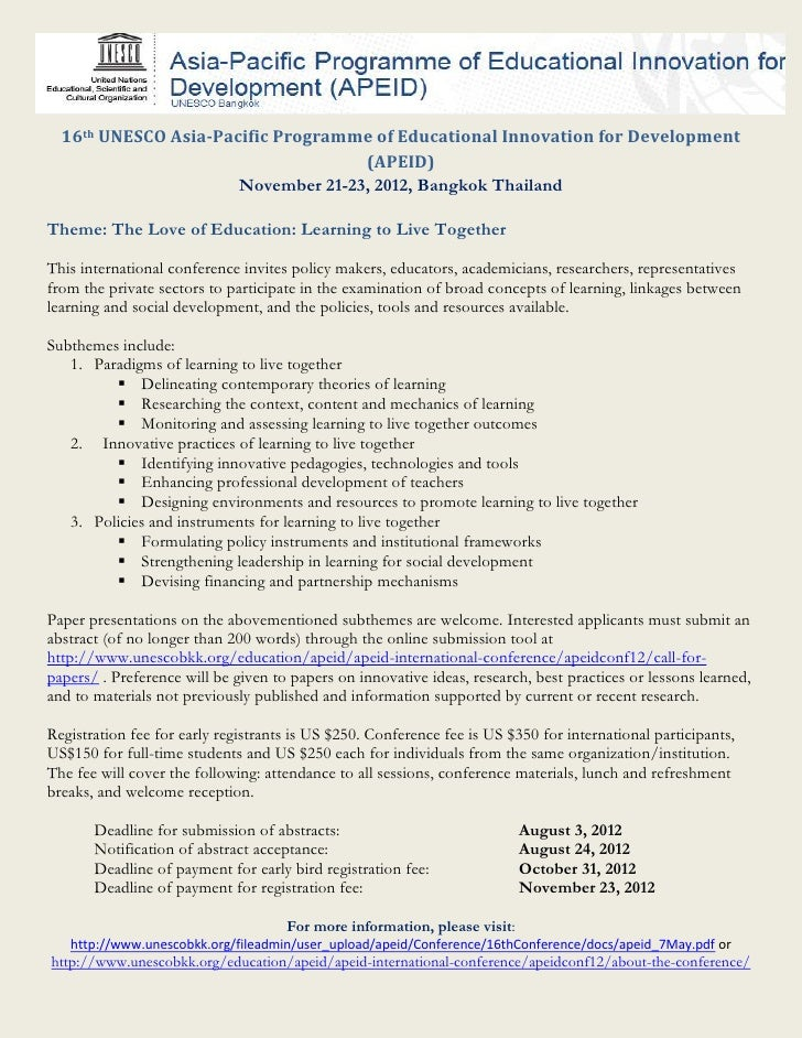 16th UNESCO Asia-Pacific Programme of Educational Innovation for Development                                    (APEID)   ...