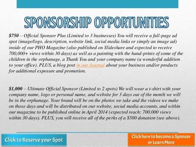 $750 – Official Sponsor Plus (Limited to 3 businesses) You will receive a full-page ad spot (image/logo, description, webs...