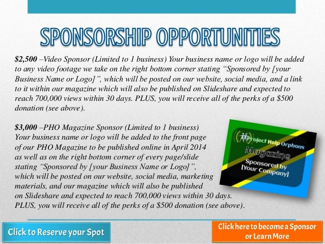 $2,500 –Video Sponsor (Limited to 1 business) Your business name or logo will be added to any video footage we take on the...