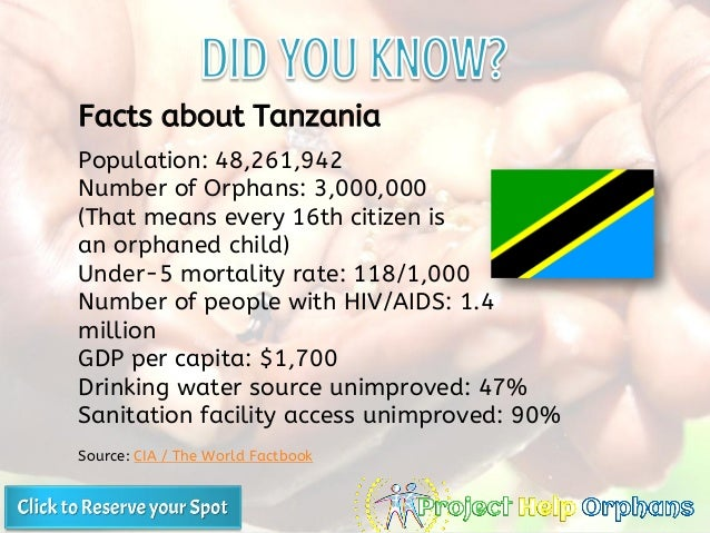 Population: 48,261,942 Number of Orphans: 3,000,000 (That means every 16th citizen is an orphaned child) Under-5 mortality...