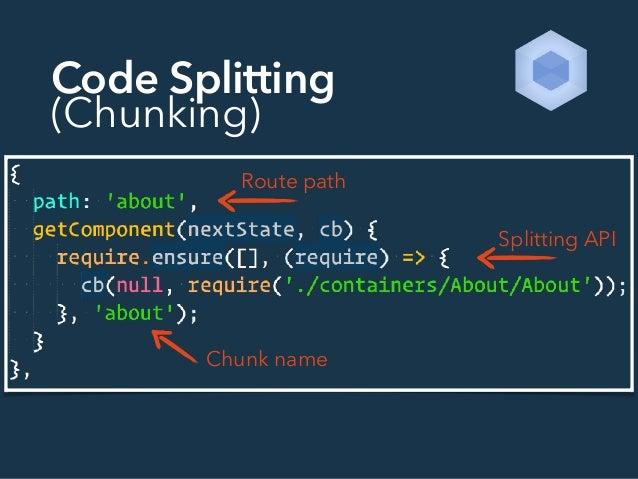 Code Splitting (Chunking) Route path Splitting API Chunk name