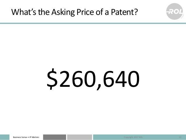 BusinessSense• IPMatters What'stheAskingPriceofaPatent? $260,640 12Copyright2017ROL
