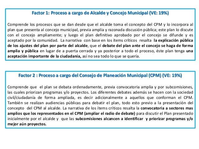 Factor 1: Proceso a cargo de Alcalde y Concejo Municipal (VE: 19%) Comprende los procesos que se dan desde que el alcalde ...