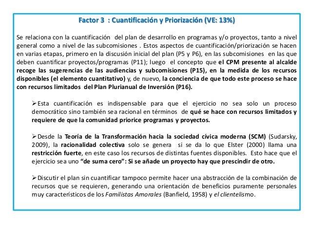 Factor 3 : Cuantificación y Priorización (VE: 13%) Se relaciona con la cuantificación del plan de desarrollo en programas ...