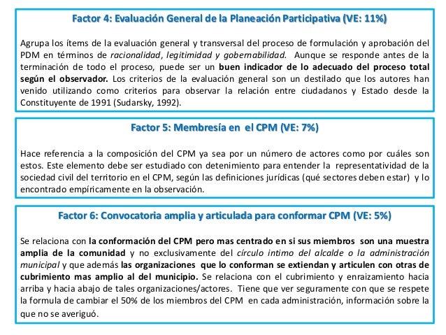 El Factor 4: Evaluación General de la Planeación Participativa (VE: 11%) Agrupa los ítems de la evaluación general y trans...