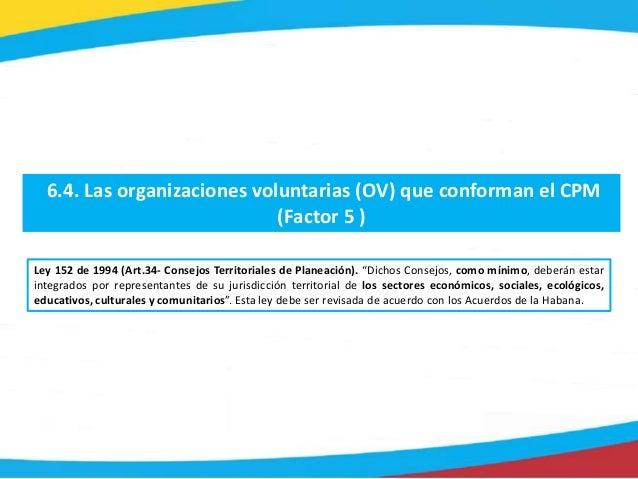 6.4. Las organizaciones voluntarias (OV) que conforman el CPM (Factor 5 ) Ley 152 de 1994 (Art.34- Consejos Territoriales ...