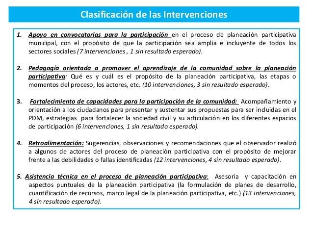 Clasificación de las Intervenciones 1. Apoyo en convocatorias para la participación en el proceso de planeación participat...
