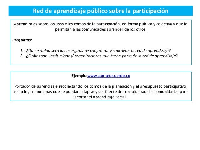 Red de aprendizaje público sobre la participación Aprendizajes sobre los usos y los cómos de la participación, de forma pú...