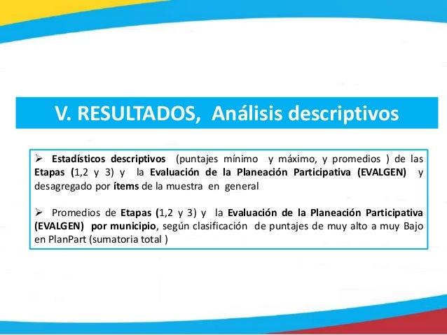 V. RESULTADOS, Análisis descriptivos  Estadísticos descriptivos (puntajes mínimo y máximo, y promedios ) de las Etapas (1...