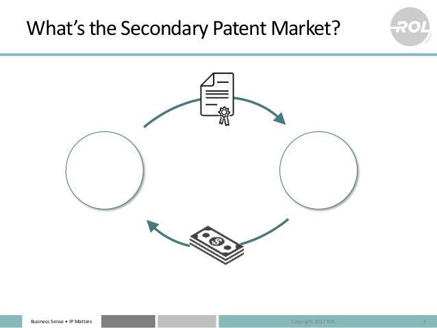 BusinessSense• IPMatters What'stheSecondaryPatentMarket? 2 Seller Buyer Copyright2017ROL