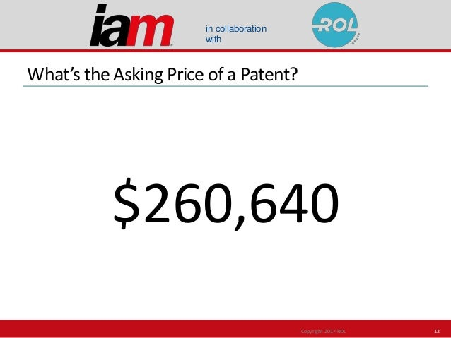 in collaboration with What's the Asking Price of a Patent? $260,640 Copyright 2017 ROL 12