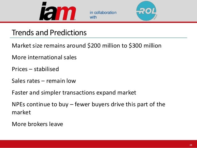 in collaboration with Trends and Predictions Market size remains around $200 million to $300 million More international sa...