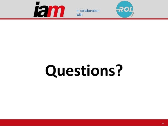 in collaboration with Questions? 30